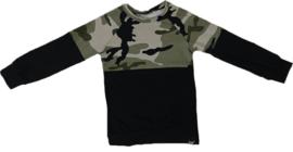 Half camo groen/zwart shirt