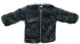 Black im. fake fur coat zipper