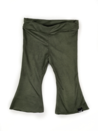 Green suède flared pants