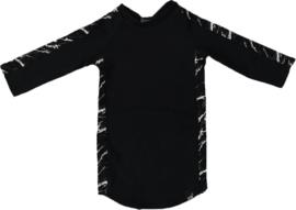 Zwart met marble streep jurkje + haarbandje