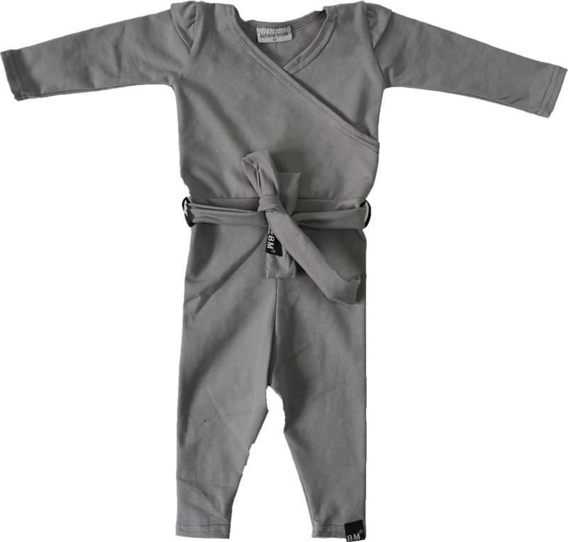 Licht grijs jumpsuit + gratis haarbandje