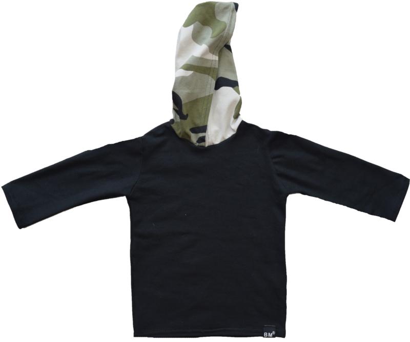 Black with camo green longshirt