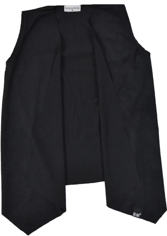 Black suede sleeveless cardigan