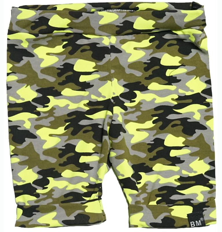 Camo geel korte omslag broek