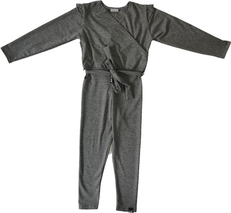Donker grijs jumpsuit + gratis haarbandje