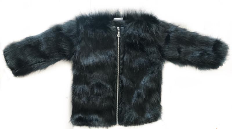 Black im. fake fur coat zipper