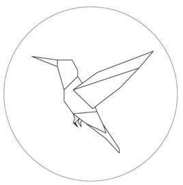 Muurcirkel-Kolibrie  wit 30cm