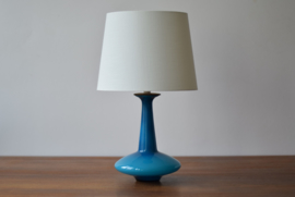 Including New Lampshade! Holmegaard Denmark Table Lamp Turquoise Blue Glass Danish Mid-century