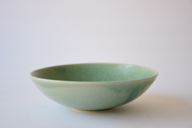 Saxbo Eva Stæhr Nielsen Attributed Denmark  Bowl with Green Glaze Grass & Bird Motif Danish Mid-century Pottery