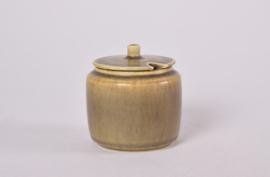 Per Linnemann-Schmidt for PALSHUS Denmark  Sugar Bowl / Jam Jar / Preserve Pot Olive Green Haresfur Glaze Danish Mid-century Pottery