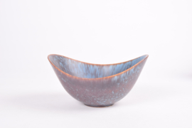 Gunnar Nylund for Rörstrand Sweden Boat Shaped Bowl ARO Blue & Brown Haresfur Glaze Scandinavian Mid-century Pottery