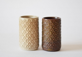 Vintage L Hjorth Denmark Set of 2 Vases Brown & Beige Eva Sjøgren Danish midcentury pottery