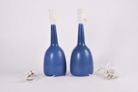 ON HOLD! PALSHUS Denmark Pair of Table Lamps Blue Haresfur Glaze Danish Mid-century Ceramic Lighting