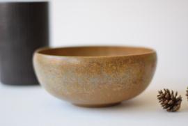SOLD Vintage L Hjorth Denmark Big Bowl with Brown Blue Speckled Glaze Danish midcentury pottery
