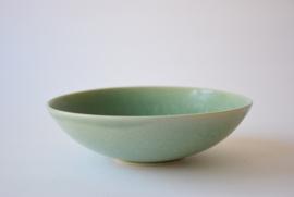 Saxbo Eva Stæhr Nielsen Attributed Denmark  Bowl with Green Glaze Grass & Bird Motif Danish Mid-century Pottery
