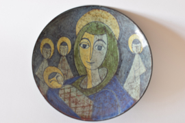 Michael Andersen & Søn Denmark Bowl Virgin Mary and Child prob Gerd Hiort Petersen Danish Mid-century