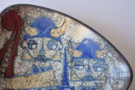 Marianne Starck for Michael Andersen & Son Triangular Bowl Viking Motif Persia Danish mid century pottery