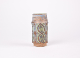 Johannes Andersen Denmark Cylindrical Vase with Handpainted Decor Danish Mid-century Pottery