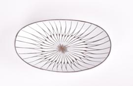 Mari Simmulson for Upsala Ekeby UE Sweden MARS Series Oblong Bowl 4146 White & Black Scandinavian Mid-century Pottery