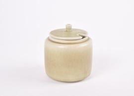 Per Linnemann-Schmidt for PALSHUS Denmark Jam Jar / Preserve Pot Olive Green Haresfur Glaze Danish Mid-century Pottery