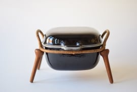 Quistgaard IHQ ANKERLINE dutch oven / casserole with teak stand Black enamel Danish mid century design