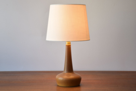 Incl New Lampshade! PALSHUS / Le Klint Denmark Table Lamp Ochre Brown Haresfur Glaze Danish Mid-century