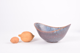 Gunnar Nylund for Rörstrand Sweden Boat Shaped Bowl ARO Blue & Brown Haresfur Glaze Scandinavian Mid-century Pottery