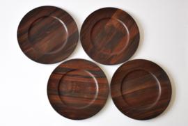 Jens H Quistgaard for Kronjyden 4 Wooden Rosewood Plates Danish Mid-century Design