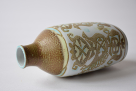 Early Version! Nils Thorsson for Aluminia / Royal Copenhagen BACA Bottle Vase Bird Motif Danish Mid-century