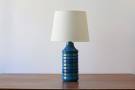 Bitossi Italy Aldo Londi Attr. Blue Striped Table Lamp Italian Mid-century Ceramic Lighting  - New Lampshade included