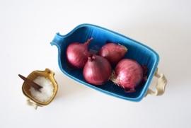Nils Kähler / HAK  set of 2 piggy bowl turquoise & amber Danish pottery midcentury