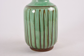 Kähler Table Lamp Green with Brown Stripes Danish Mid-century Ceramic Lighting // PRICE UPON REQUEST