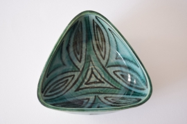 Hyllested Denmark triangular bowl handpainted decor Danish pottery midcentury