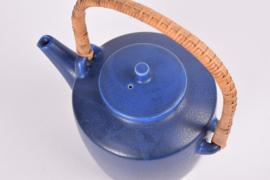 PALSHUS Denmark Large Teapot Cobalt Blue Haresfur Glaze T4 by Frode Bahnsen Danish Mid-century Pottery