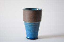 Nils Kähler for Kähler / HAK Vase turquoise brown Danish pottery midcentury