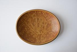 Quistgaard for Eslau Denmark oval tray tree & bird motif ochre Danish midcentury