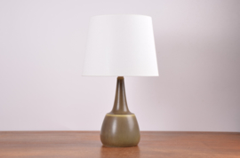 Incl New Lampshade PALSHUS Table Lamp Olive Green / Khaki Haresfur Glaze Danish Mid-century Ceramic Lighting // PRICE UPON REQUEST