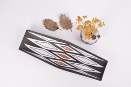 Michael Andersen & Søn / Marianne Starck Attributed Oblong Dish / Wall Plate N egro / Tribal Series Black / White / Orange Danish Mid-century Ceramic
