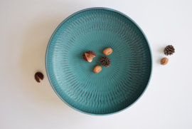 "40,5 cm / 16"" Gunnar Nylund for Nymölle Denmark Huge Circular Bowl Turquoise no 9542 Scandinavian Midcentury // PRICE UPON REQUEST"
