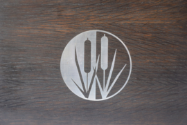Mid-century Danish Bog Oak & Silver Wooden Box Bulrush Motif by AS Denmark Sterling