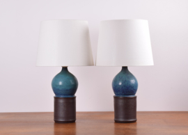 ON HOLD! Marianne Starck for Michael Andersen & Søn Pair of Table Lamps Turquoise and Brown Danish Mid-century Ceramic Lighting // PRICE UPON REQUEST