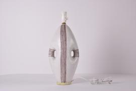 Incl New Lampshade Guido Gambone Tall Table Lamp Stripes Anthropomorphic Shape Italian Mid-century Ceramic Lighting // PRICE UPON REQUEST