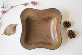 Gunnar Nylund for Rörstrand Sweden Organic Form Bowl Dish Brown Haresfur Glaze Scandinavian midcentury pottery