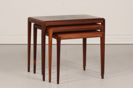 SOLD Johannes Andersen Nesting Tables Rosewood with Royal Copenhagen Tiles by Nils Thorsson CFC Silkeborg Danish Mid-century