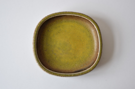 Nils Thorsson for Royal Copenhagen Square Dish with Solfatara Glaze Danish Mid-century