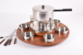 SOLD Vintage STELTON Denmark CYLINDA Fondue Set with Lazy Susan in Teak Design by Peter Holmblad