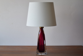 Incl New Lampshade! Carl Fagerlund for Orrefors Sweden Lamp in Red & Clear Glass Scandinavian Mid-century  //PRICE UPON REQUEST //