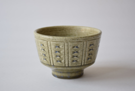 PALSHUS Denmark Bowl Pale Green & Blue Incised Decor Danish Mid-century