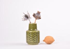 SOLD PALSHUS Denmark Cylindrical Vase Moss Green Glaze Zig Zag Decor Design Per Linnemann-Schmidt Danish Mid-century Ceramic