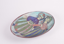SOLD Marianne Starck for Michael Andersen & Søn Denmark Large Oblong Dish / Wall Decor Two Girls Motif Persia Glaze Danish Mid-century